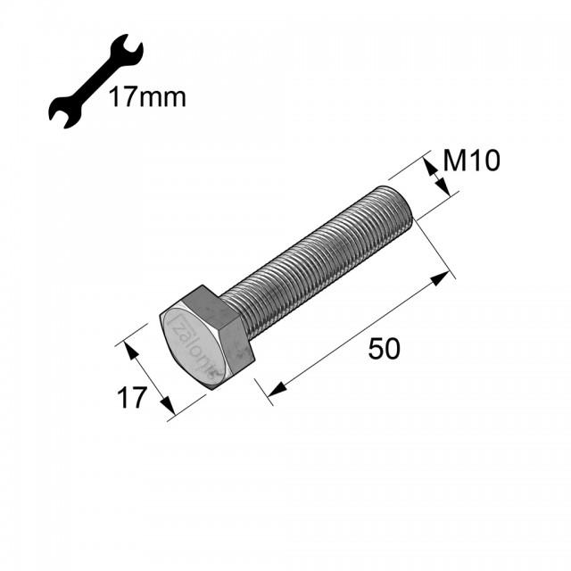 HEXAGON HEAD STEEL BOLT M10x50